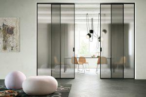 דלתות הזזה, דלתות הזזה זכוכית, עם מסגרת אלומיניום, גוון שחור - אינובייט