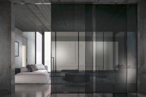 דלתות הזזה זכוכית עם מסגרת אלומיניום, דקה שחורה - אינובייט