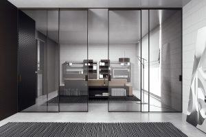 דלתות הזזה זכוכית עם מסגרת אלומיניום, בגוון שחור-אפור - אינובייט