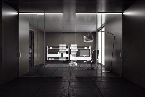 דלתות הזזה זכוכית עם מסגרת אלומיניום חדר שחור