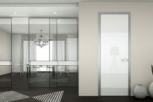 דלתות פתיחה משקוף אלומיניום -זכוכית חלב