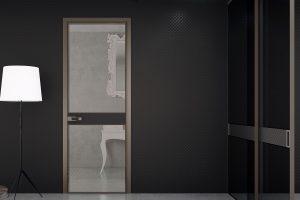 דלתות פתיחה משקוף אלומיניום- זכוכית חומה