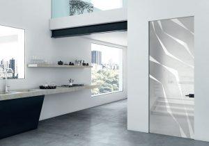 דלתות פתיחה זכוכית - שילוב לבן ושחור